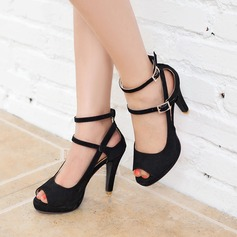 Women's Suede Stiletto Heel Sandals Pumps Platform Peep Toe With Split Joint shoes (087117162)