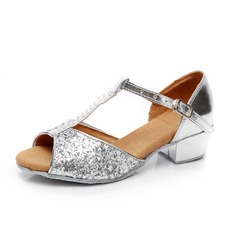 Kids' Sparkling Glitter Patent Leather Sandals Latin With Rhinestone T-Strap Dance Shoes