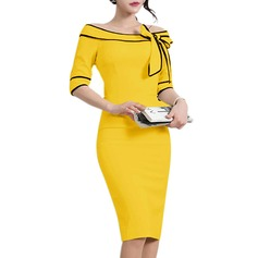 Polyester With Resin solid color Knee Length Dress (199153253)