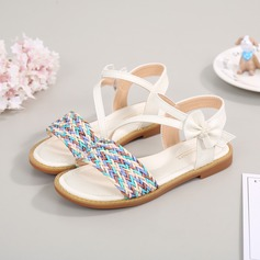 Girl's Peep Toe Microfiber Leather Flat Heel Sandals With Bowknot Velcro