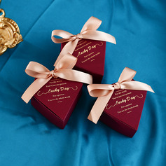 Beautiful diamond shape Pearl Paper Favor Boxes & Containers With Ribbons