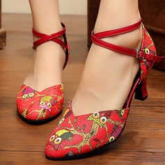 Women's Leatherette Heels Pumps Ballroom With Animal Print Ankle Strap Dance Shoes