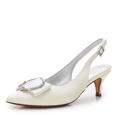 Women's Silk Like Satin Low Heel Closed Toe Slingbacks With Bowknot