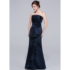 Sheath/Column Strapless Floor-Length Satin Bridesmaid Dress With Flower(s) Cascading Ruffles