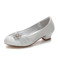 Jentas Round Toe Lukket Tå Mary Jane Silk Som Satin lav Heel Flower Girl Shoes med Rhinestone Ruched