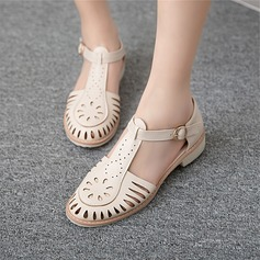 Women's Leatherette Flat Heel Sandals Flats Closed Toe With Buckle Hollow-out shoes