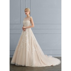 Ball-Gown/Princess Illusion Chapel Train Tulle Lace Wedding Dress With Beading Sequins