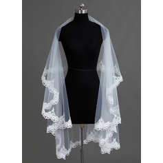 One-tier Lace Applique Edge Chapel Bridal Veils