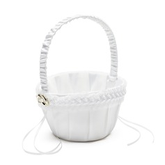 Elegant Flower Basket in Satin With Ribbons