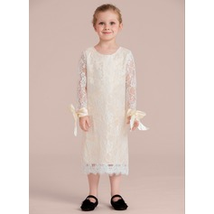 Tea-length Flower Girl Dress - Charmeuse/Lace Long Sleeves Scoop Neck With Bow(s)