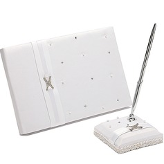 """Love Ever Lasting"" Rhinestones/Sash Guestbook & Pen Set"