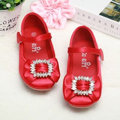 Girl's Closed Toe Satin Flat Heel Flats Flower Girl Shoes With Rhinestone Velcro