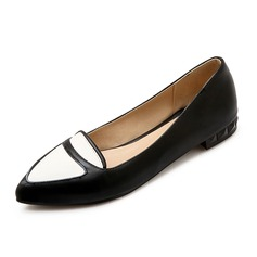 Women's Leatherette Flat Heel Flats Closed Toe shoes (086090402)