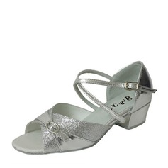Kids' Leatherette Sparkling Glitter Heels Latin With Ankle Strap Buckle Dance Shoes
