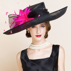 Ladies' Gorgeous Summer Cambric With Feather Bowler/Cloche Hat (196075556)