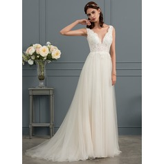 A-Line V-neck Sweep Train Tulle Wedding Dress