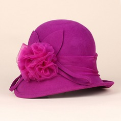 Ladies' Elegant Wool With Flower Bowler/Cloche Hat