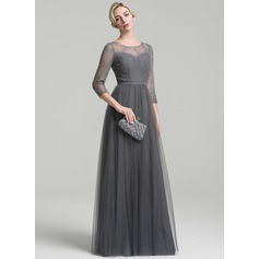 A-Line/Princess Scoop Neck Floor-Length Tulle Mother of the Bride Dress With Beading Sequins