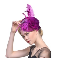 Ladies' Beautiful/Elegant Cotton With Feather/Silk Flower/Tulle Fascinators/Kentucky Derby Hats/Tea Party Hats
