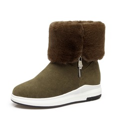 Women's Suede Wedge Heel Platform Wedges Ankle Boots With Zipper Fur shoes