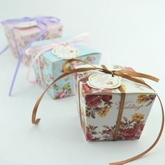 Floral Design Cuboid Favor Boxes With Ribbons