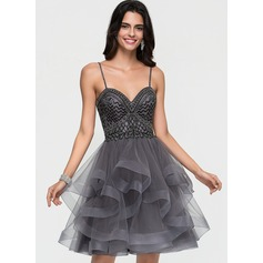 A-Line Sweetheart Knee-Length Tulle Homecoming Dress With Beading Cascading Ruffles