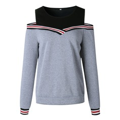 Color Block Striped Polyester Sweatshirt Sweatshirts (1001157437)