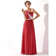 A-Line/Princess One-Shoulder Floor-Length Chiffon Evening Dress With Ruffle Beading Sequins