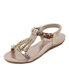 Women's Leatherette Flat Heel Flats Peep Toe Sandals Slingbacks With Crystal Pearl
