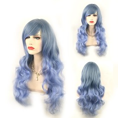 Blue Ombre Side Bang Long Wavy Cosplay Synthetic Wig