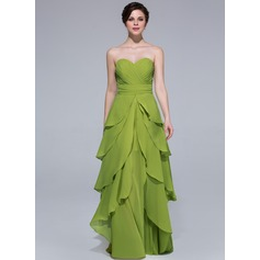 A-Line/Princess Sweetheart Floor-Length Chiffon Holiday Dress With Cascading Ruffles (007037219)