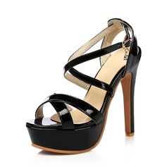 Women's Patent Leather Stiletto Heel Pumps Platform With Buckle shoes