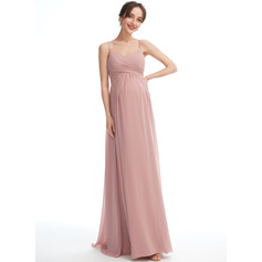 A-line V-Neck Floor-length Chiffon Maternity Bridesmaid Dress (045251915)
