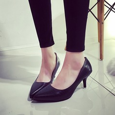 Women's Leatherette Kitten Heel Pumps Closed Toe shoes