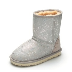 Girl's Closed Toe Snow Boots Ankle Boots Suede Flat Heel Boots With Sequin