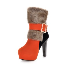Women's Suede Chunky Heel Mid-Calf Boots With Buckle Fur shoes