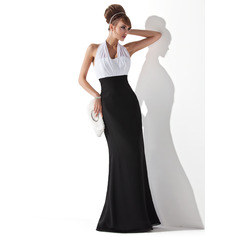 Empire Halter Floor-Length Chiffon Evening Dress With Ruffle (271238453)
