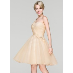 One-Shoulder Knee-Length Tulle Cocktail Dress With Beading Sequins