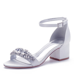 Women's Silk Like Satin Chunky Heel Peep Toe Sandals With Buckle Rhinestone