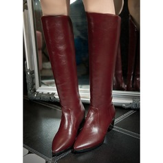 Women's PU Chunky Heel Boots Knee High Boots Mid-Calf Boots With Zipper Others shoes