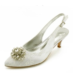 Women's Leatherette Low Heel Closed Toe Flats With Stitching Lace Crystal Heel Crystal