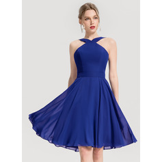 A-Line V-neck Knee-Length Chiffon Cocktail Dress (270253223)