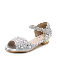 Girl's Peep Toe Microfiber Leather Low Heel Sandals Flats Flower Girl Shoes With Rhinestone Velcro