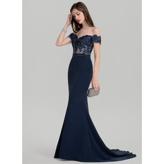 Trumpet/Mermaid Off-the-Shoulder Sweep Train Stretch Crepe Prom Dresses With Beading Sequins