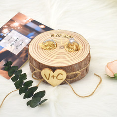 Personalized Rustic Wood Ring Holder With Rustic Twine
