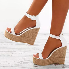 Women's Leatherette Wedge Heel Peep Toe Sandals With Buckle (047236274)