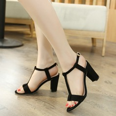 Women's Suede Chunky Heel Sandals Peep Toe shoes