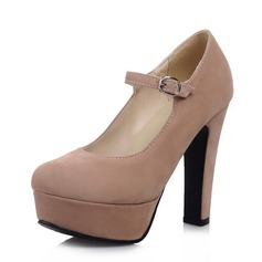 Suede Chunky Heel Pumps Platform Closed Toe With Buckle shoes