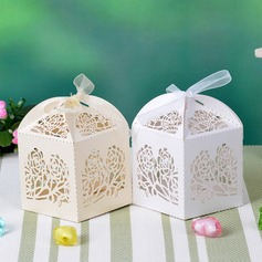 Floral Cut Out Cuboid Pearl Paper Favor Boxes With Ribbons