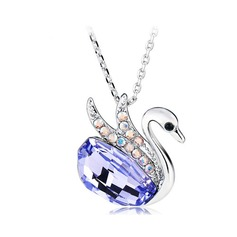 Swan Shaped Platinum Plated With Crystal Ladies' Necklaces